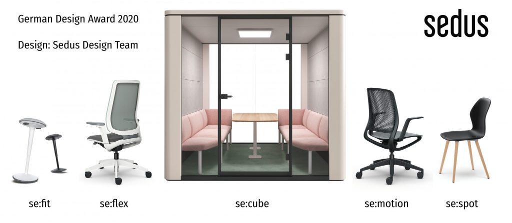 German Design Award 2020 ausgezeichnete Sedus Produkte se:fit, se:flex, se:cube, se:motion, se:spot